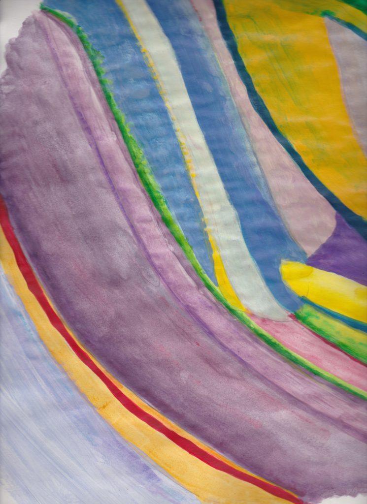 Peinture de mouvement acrylique sur papier  Couleurs pales jaunes, bleues, violets